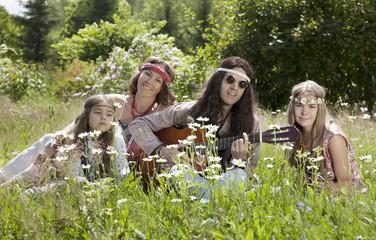 Hippie family outdoors