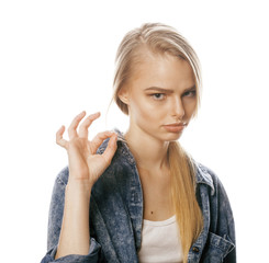 young blond woman on white backgroung gesture thumbs up