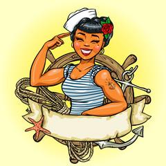 Retro Girl logo design, Vector Pin Up  Illustration
