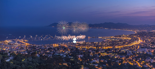 Firework in Cannes. 14th july 2015 , French national day