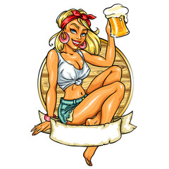 Pretty Pin Up Girl holding beer mug.