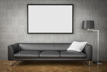 Mock up poster, big sofa, concrete wall background, 3d illustrat