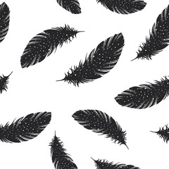 Vintage Feather seamless background. Hand drawn illustration