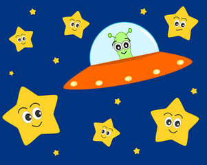 cute ufo alien cartoon in the space with sweet lovely stars vector illustration for kids