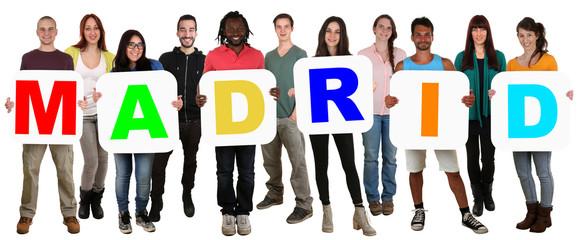 Gruppe junge Leute People multikulturell halten Wort Madrid