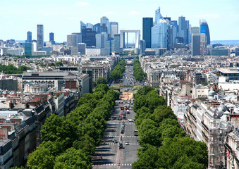 France. Paris. Aerial view of the Avenue of the Great Army and the of La Defense.