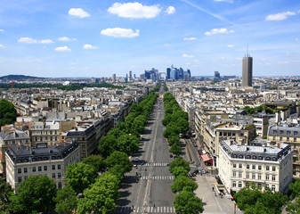France. Paris. Aerial view of the Avenue of the Great Army