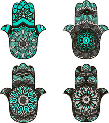 Set of four turquoise  hamsot in ethnic style