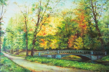 Original oil painting The bridge in the forest