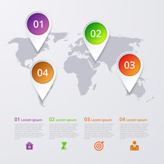 Vector illustration infographics four marks on the map