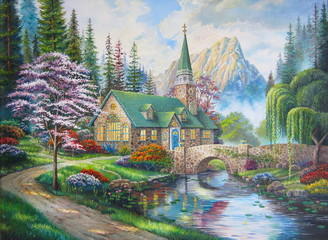 Original oil painting The Church in the forest