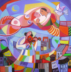 Original oil painting The lovers