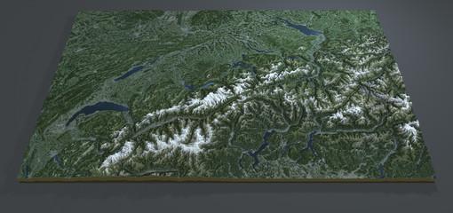 Vista satellitare della Svizzera, sezione 3d terreno, mappa