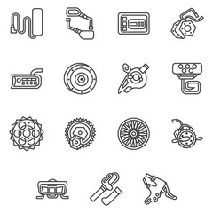 Simple line icons for e-bike parts