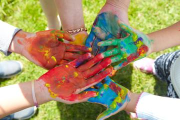 Children draws paints