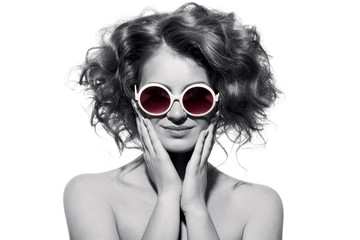 Fashion Woman With Sunglasses. Isolated.