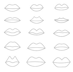 set of different lip size and shape