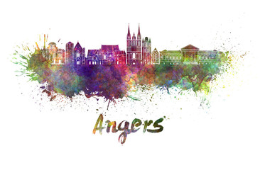 Angers skyline in watercolor