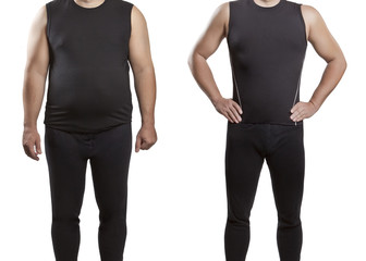 Male before and after. A healthy lifestyle