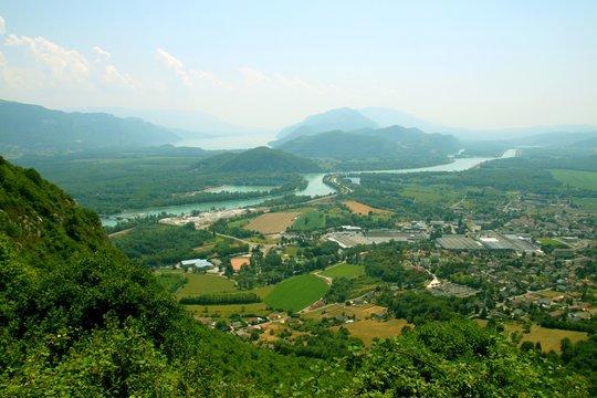 Culoz, le rhône et le Lac du Bourget depuis le Grand Colombier