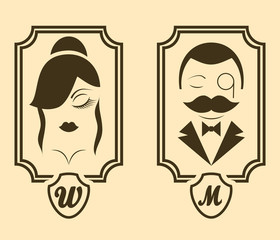Vector retro style Man & Woman restroom sign