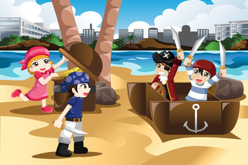 Children Playing as Pirates