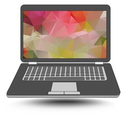 Laptop with colorful triangle abstract patterns on the display