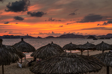 Sunset at Acapulco beach in Mexico
