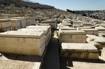 Jewish cemetery at Mount of Olives in Jerusalem, Israel