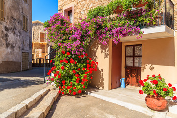 Entrance to typical house decorated with flowers in Piana village, Corsica island, France
