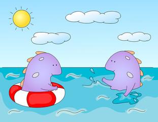 Lovely imaginary dragons splashing in the water. Оne monster sw