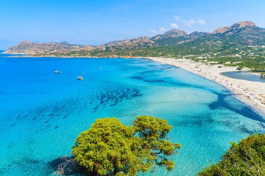 View of Ostriconi beach with beautiful sea lagoon, Corsica island, France