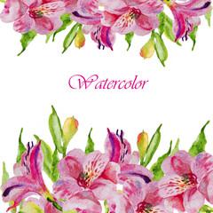 Watercolor flowers alstroemeria. Handmade greeting cards.
