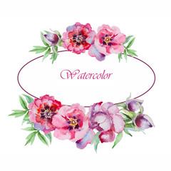 Watercolor flowers peony.Handmade greeting cards.