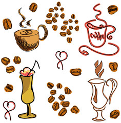 Colored image with coffee drinks. Vector illustration
