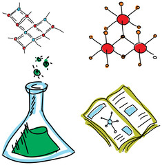 Drawn picture with chemistry symbols. Vector illustration