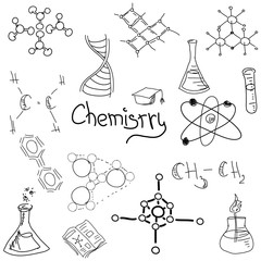 Chemistry symbols with formula on white. Vector illustration