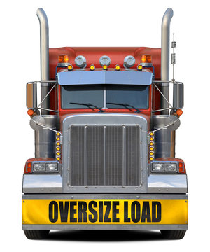Oversize load red truck isolated on white background.