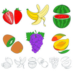 set of painted fruits