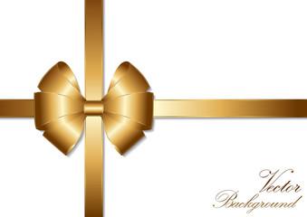 golden bow ribbon design.Vector Illustration