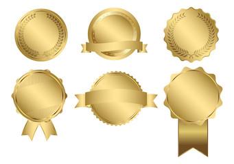 Vector Badges of Gold Seal Set