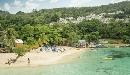 Beautiful sandy beach in Ocho Rios, Jamaica