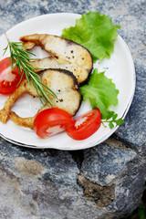 Grilled steaks grass carp