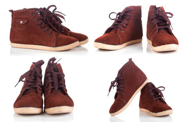 Group of red Brown working boots with shadows