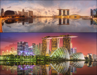 Set of Singapore Skyline and view in Marina Bay