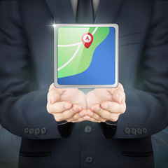 businessman holding city map
