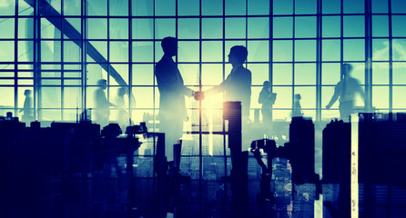 Business Men Handshake Abstract Collaboration Concept