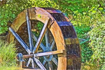 old water wheel  - illustration based on own photo image