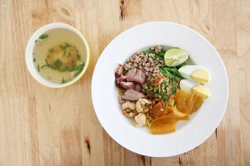 Thai food Tom yum noodle in Thai style