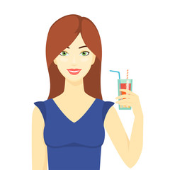Illustration of a young woman with glass  fresh juice.